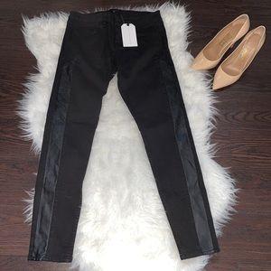 NWT Sanctuary Leather Trim Jeans